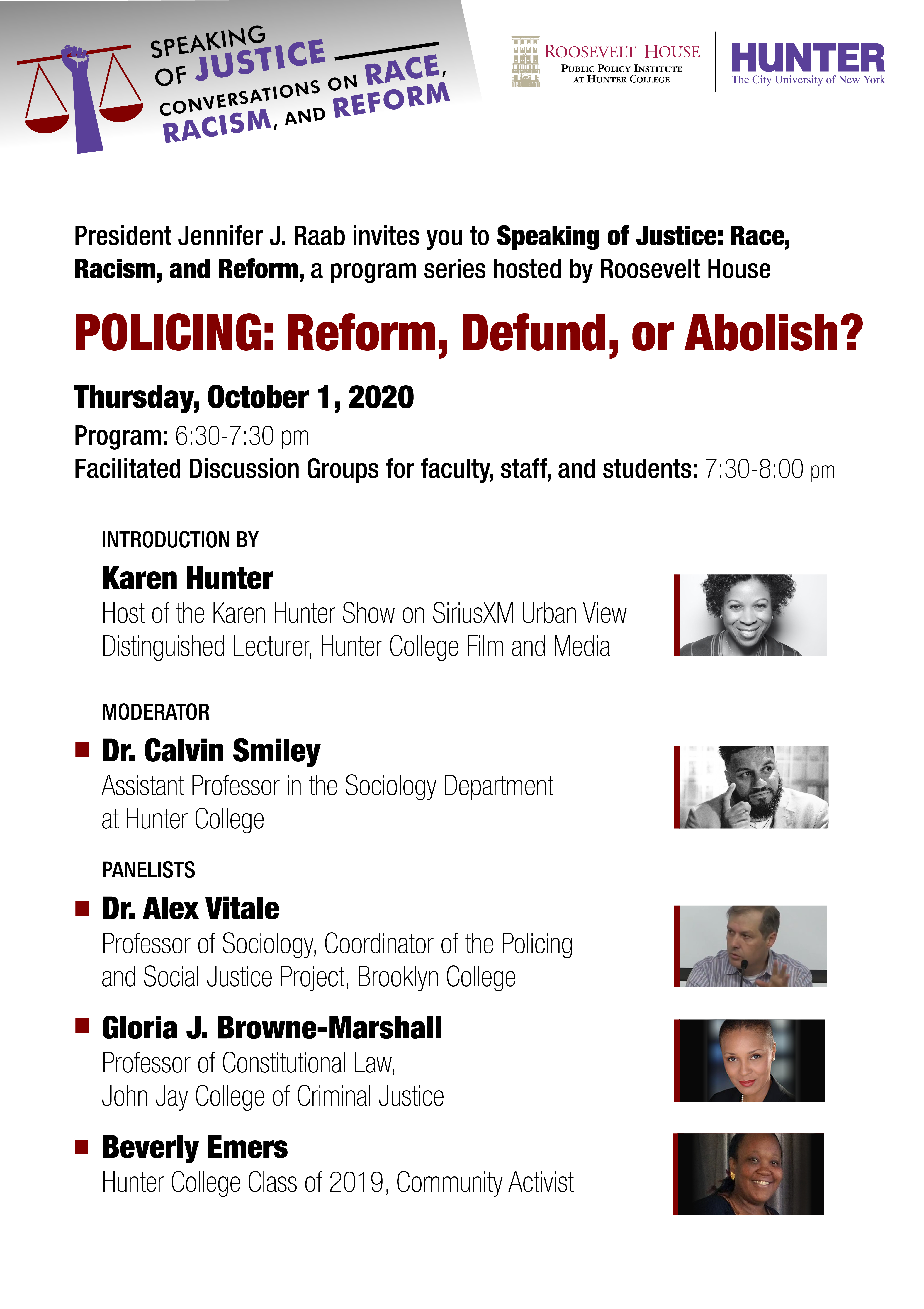 speaking of justice policing reform defund or abolish 10 01 20 hunter college